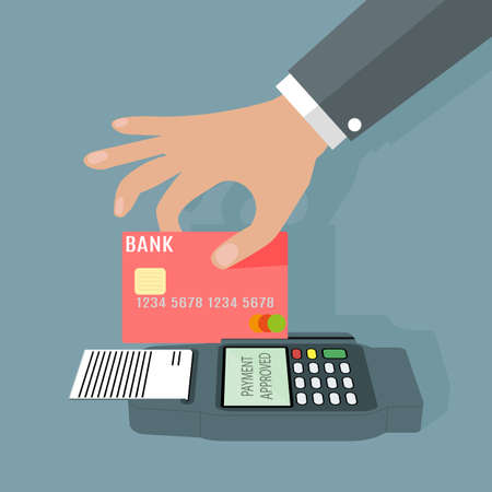 trough: POS terminal transaction concept. Hand swiping a credit card trough terminal. Vector illustration on grey background in flat design Illustration