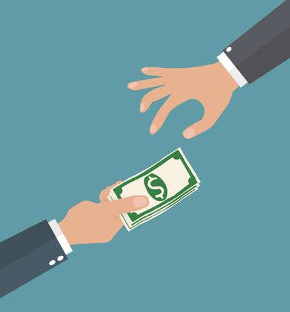 Two cartoon businessman hands, giving money.
