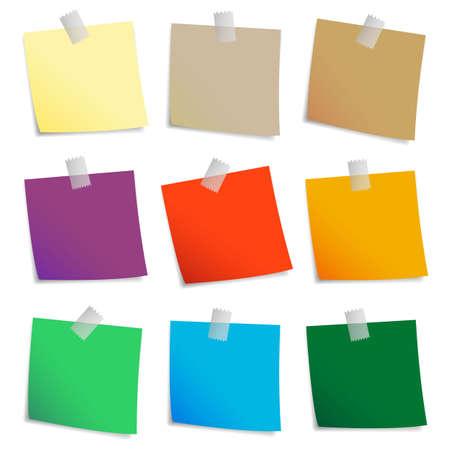 papel de notas: Coloreado conjunto de notas adhesivas. Vectores
