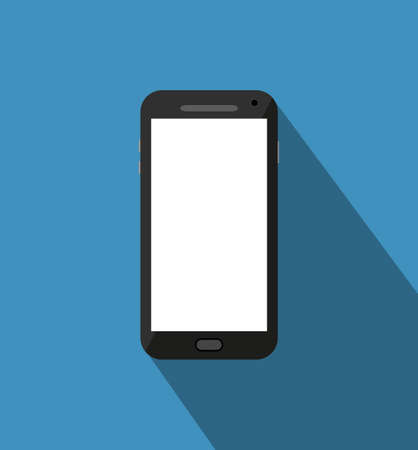 touch phone: Black touch phone at blue background with long shadow.