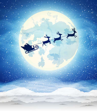 moon light: Winter landscape background of night sky with a bright moon and the silhouette of Santa Claus flying on sleigh pulled by reindeer.