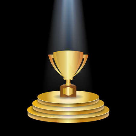 cinematograph: Gold winner Podium With Trophy Cup and light. Vector illustration on black background