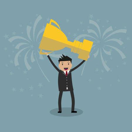 recompense: Cartoon businessman holding winning trophy. vector illustration in flat design on grey background, Financials, work motivation