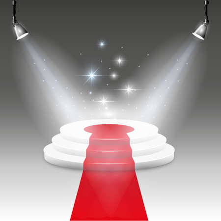 success concept: White Illuminated stage podium with red carpet road.