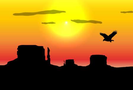 eagle badge: Western desert background.  Illustration