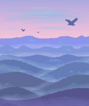 mist: Panorama of hills Sunset Mist.