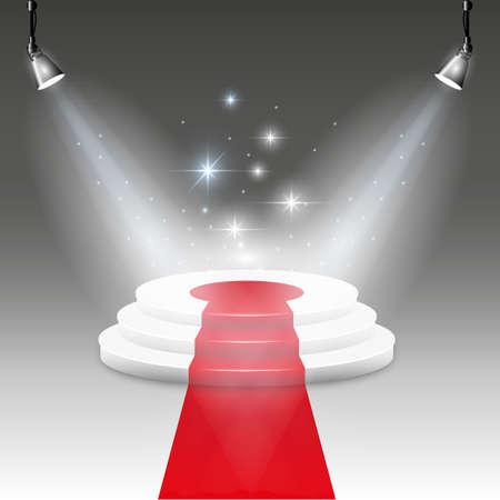 white carpet: White Illuminated stage podium with red carpet road.