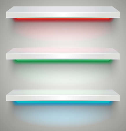 three shelves: Three empty white plastic illuminated by neon lights shelves with shadows on grey light background.  Stock Photo