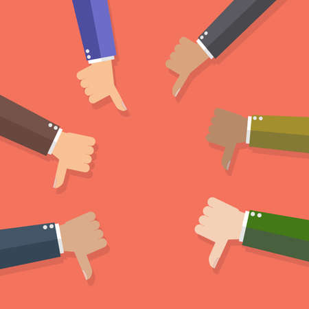 media background: Six cartoon Businessman hands hold thumbs down.  Stock Photo