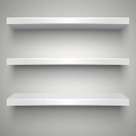Three empty white plastic shelves with shadows on grey light background.