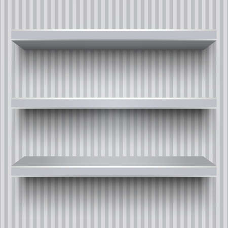 three shelves: Three empty grey plastic shelves with shadows on striped wall background. vector illustration