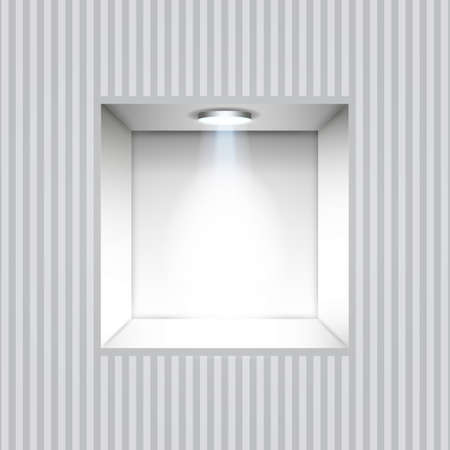 store display: Empty white niche in the wall with lights on striped wall