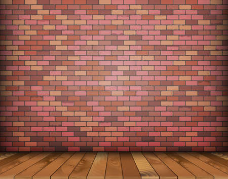 wood structure: Background with bricks and wooden floor.  Illustration