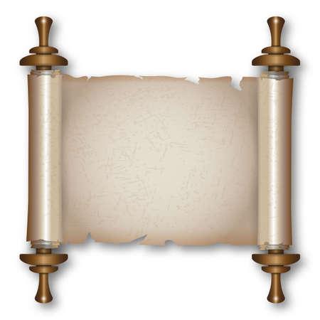 schriftrolle: Alte Papierrolle mit Holzgriffen und Schatten. Vektor-Illustration isoliert auf weißem Hintergrund