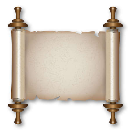 Ancient paper scroll with wooden handles and shadow. vector illustration isolated on white background Çizim