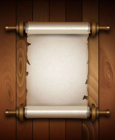 vertical banner: Vertical old scroll paper with handles on wooden background with space for your text.