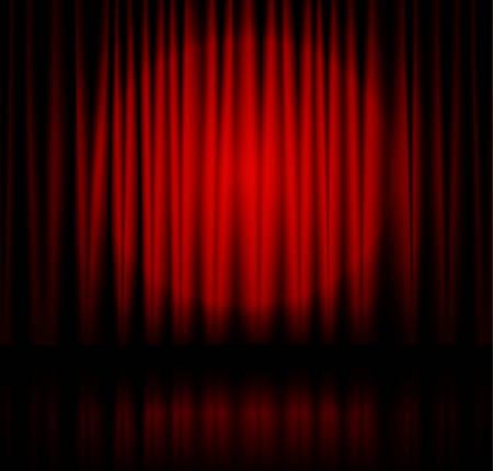 performance art: Red spotlight on stage theater curtain with reflection on floor.