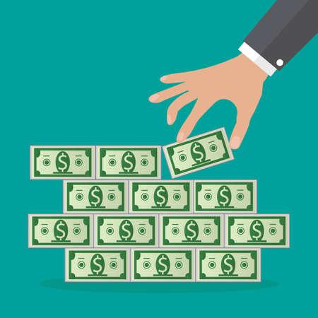 deposit slip: Human hand takes money from cash stacks.