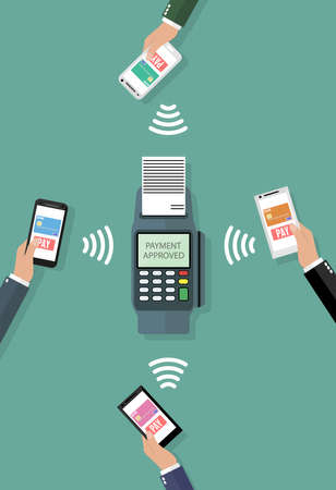 Pos terminal confirms the payment by smartphones. Vector illustration in flat design on green background. nfc payments concept Иллюстрация