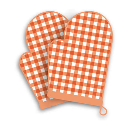gingham pattern: Two Red kitchen gloves with shadow and gingham pattern isolated on white background.