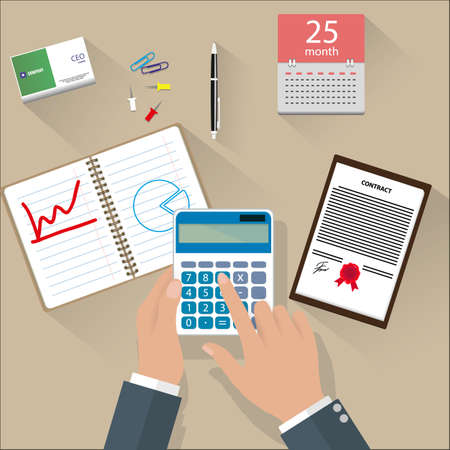finance concept: Concept of corporate finance, business management, financial planning with top view office desk, calculator, calendar, financial documents and businessman hand, pen. vector illustration in flat design Illustration