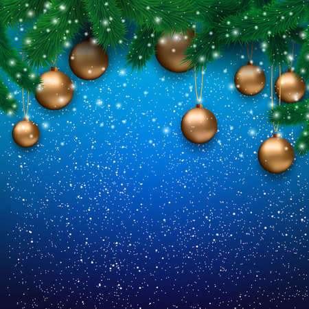 desember: Christmas card with gold glass balls, snowflakes, fur branches at blue background, Vector illustration, template for greeting card.
