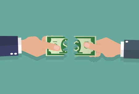 financial symbols: businessman hands tearing apart money banknote into two peaces. vector illustration in flat design on green background