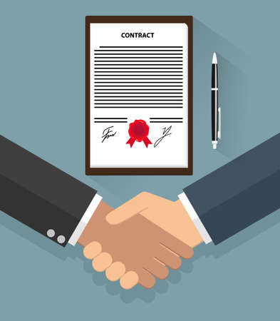 Two cartoon Businessman handshake on contract paper and pen after agreement. vector illustration in flat design on blue background