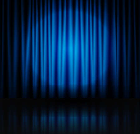 theatre curtain: Blue spotlight on stage theatre curtain with reflection on floor. Vector illustration