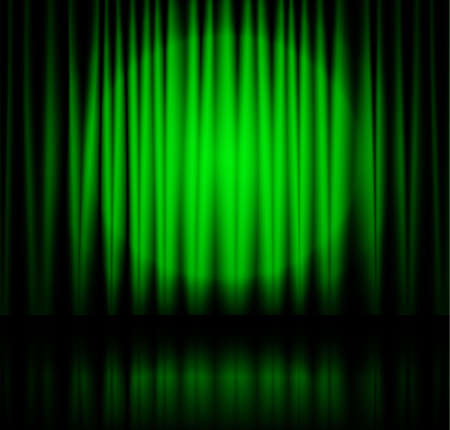 theatre curtain: Green spotlight on stage theatre curtain with reflection on floor. Vector illustration