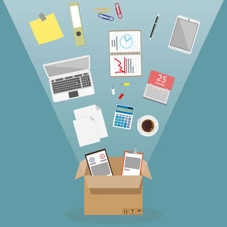 Concept of moving into a new office, cardboard box with documents, laptop, calculator, calendar, tablet pc, coffe cup, blank papers. vector illustration in flat design on blue background