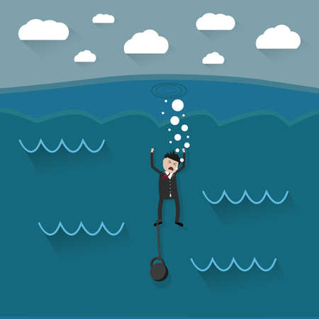 ball and chain: cartoon drowning businessman with chain on his leg. vector illustration in flat design Illustration