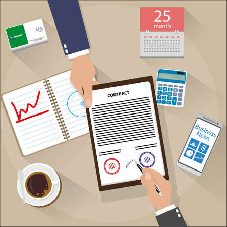 signed: businessman signed contract . top view of Desk with smartphone, coffee, calendar, and calculator. vector illustration in flat design