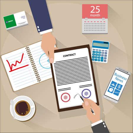 Homme d'affaires contrat signé. vue de dessus de bureau avec téléphone intelligent, le café, le calendrier et la calculatrice. illustration vectorielle en design plat Banque d'images - 49852223