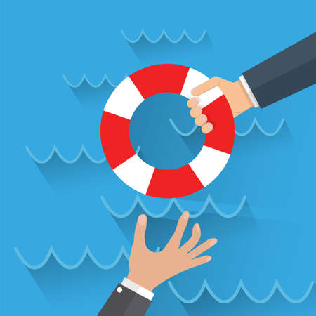 drowning: Cartoon Drowning businessman get lifebuoy from another businessman. Vector illustration in flat design on blue background, Helping Business to survive Stock Photo
