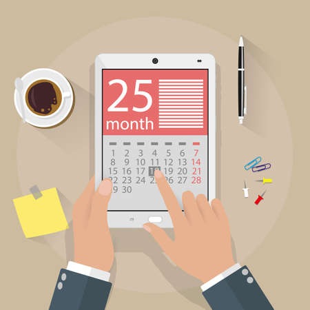 hand pen: cartoon businessman clicks on the day calendar app on a tablet computer. top view background of office desk with coffee cup, pen, sticky notes. vector illustration in flat design