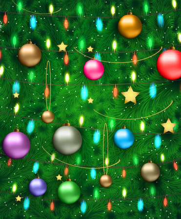 postal card: Datiled Christmas tree with red silver gold blue and green glass balls, chains, stars. template for greeting or postal card, vector illustration