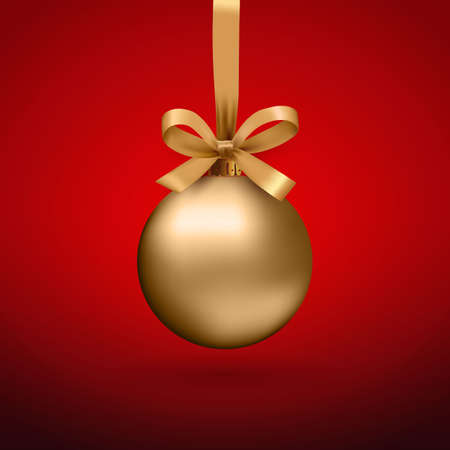 Gold Christmas ball with ribbon and a bow, on red background. Vector illustration.