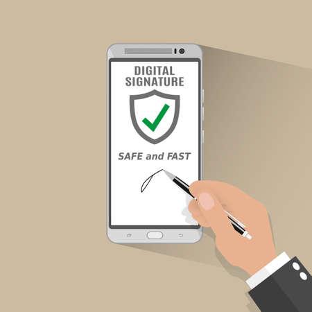 hand write: Businessman Hand Sign Digital Signature on Smart Phone. illustration in flat design on light background