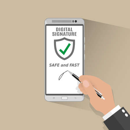 Businessman Hand Sign Digital Signature on Smart Phone. illustration in flat design on light background