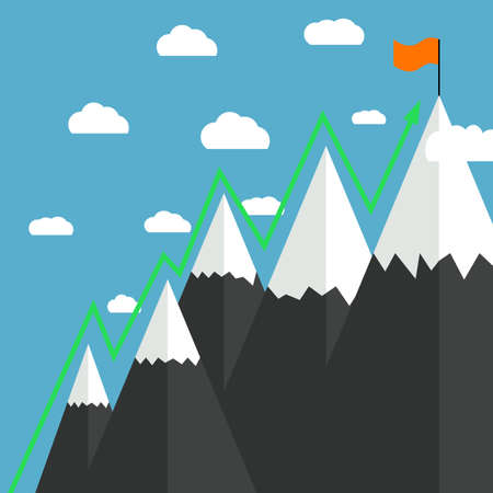 goal achievement: illustration in flat design of Mountaineering Route. Goal Achievement
