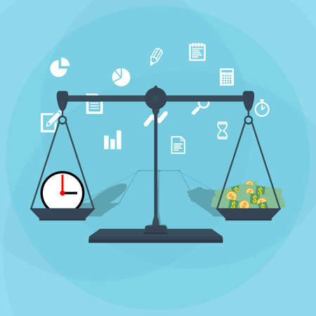 working hour: Scale weighing money and time. financial concept. illustration in flat design on blue background