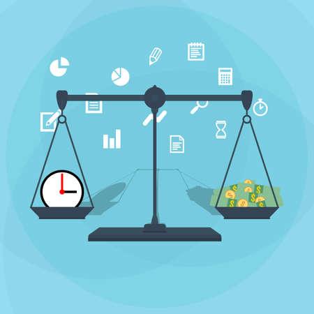 Schaal gewicht van tijd en geld. financiële concept. illustratie in platte ontwerp op een blauwe achtergrond
