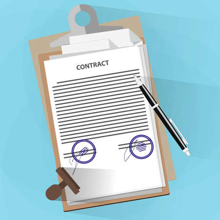 teamwork cartoon: Agreement documents concept, contract, documents folder, pencil and stamp. illustration in flat design on blue background