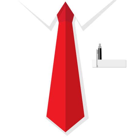 lazo negro: Antecedentes de la camisa del hombre de negocios con el lazo rojo, bolsillo con la pluma. ilustraci�n de dise�o plano