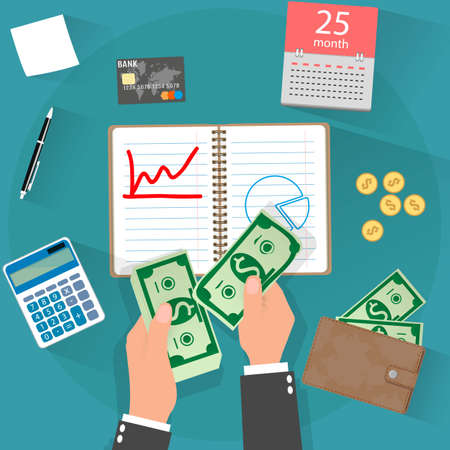 income concept. businessman counting cash money, calculator, wallet with cash and coins, credit card, pen on blue background. illustration in flat design