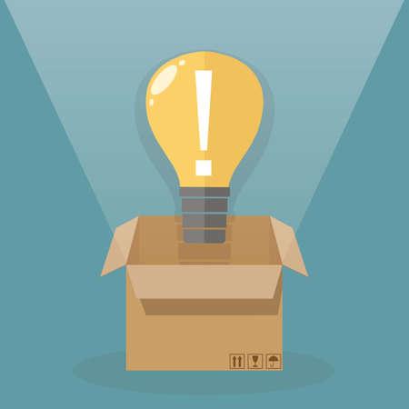outside the box: Light bulb outside the box. idea concept. illustration in flat design on blue background Illustration