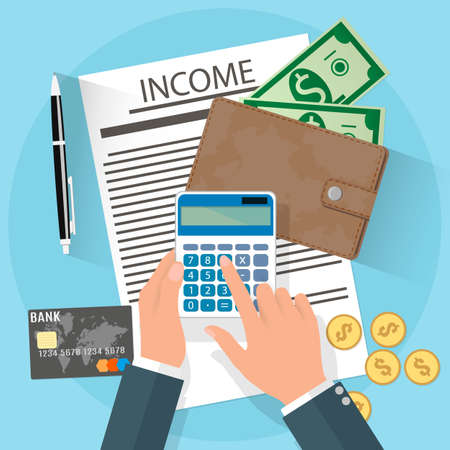 internet icons: income concept. businessman hands holding calculator, wallet with cash and coins, credit card, pen on desk.