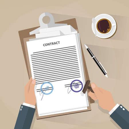sello: Sello de la mano de negocios. Escritorio con papeles del contrato, la pluma, la taza de caf�.