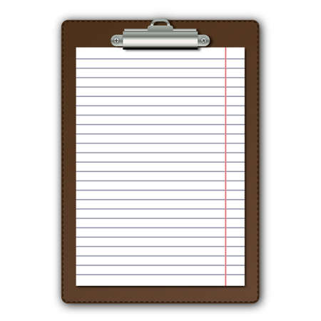 notice: Realistic brown leather tablet with paper with shadow isolated on white background.  Illustration